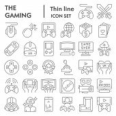 Gaming Thin Line Icon Set, Video Games Symbols Collection, Vector Sketches, Logo Illustrations, Gami poster