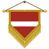 vector pennant with the flag of Latvia