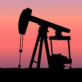 foto of oil rig  - Vector Industrial OIl extraction pumpjack at Sunset - JPG