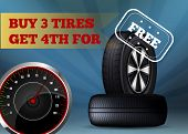 Buy Three Tires Get Fourth For Free Flat Banner. Vector Illustration On Dark Blue Background With Li poster