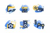 Set Icons With Multimedia, Folder, Camera, Cinema, Remote Controller, Joystick. Concept Collection M poster
