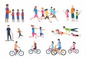 Physical Activity. People Flat Fitness Set With Parents And Children In Sport Activities. Isolated A poster