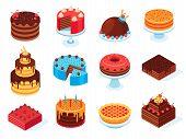 Isometric Cakes. Chocolate Cake Slice, Delicious Sliced Birthday Pie And Tasty Pink Glaze Cake Isola poster