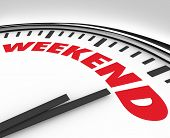 White clock with the word Weekend to remind you it's time for the end of the week relaxation, fun an