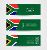 Set Of Three Horizontal Banners With Flag Of South Africa. Web Banner Design Template In Color Of So poster
