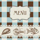 Vector de menú de mariscos