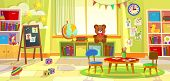 Kids Playroom. Kindergarten Child Apartment Game Classroom Learning Toys Room Preschool Class Table  poster