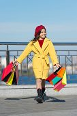 Satisfying Shopping Day. Child Stylish Hold Bunch Shopping Bags. Girl Cute Little Lady Coat And Bere poster