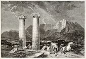 Cybele temple ruins in Sardis old view,  Aegean region, Turkey. Created by Brugnot, published on Mag