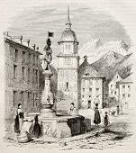 Altdorf main square old view, canton of Uri, Switzerland. Created by Girardet, published on Magasin Pittoresque, Paris, 1845