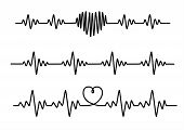 Set Black Cardiogram Lines Isolated On White Background. poster