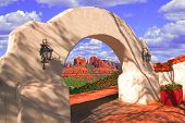 Arch And Red Mountain