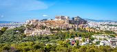 Panorama Of Athens With Acropolis Hill, Greece. Famous Old Acropolis Is A Top Landmark Of Athens. An poster