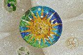 Mosaic Sun At Guell Park