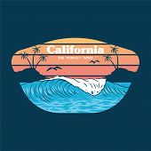 Big Ocean Wave On California Paradise Beach Place For Ride Surfing With Palms And Hot Sun Holiday St poster