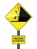Dalende economie Road Sign