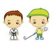picture of judo  - A judo athlete and a golfer isolated on white background - JPG