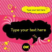 Funny black speech bubble icon on trendy pinky background