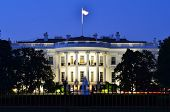 stock photo of washington monument  - The White House at night  - JPG