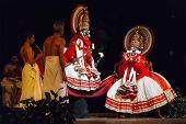 CHENNAI, INDIA - SEPTEMBER 9: Indian traditional dance drama Kathakali preformance on September 9, 2009 in Chennai, India. Performers portray monkey kings Bali and Sugriva characters in Ramayana drama