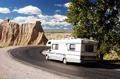 stock photo of recreational vehicles  - vacationing in a recreational vehicle in the badlands national park - JPG