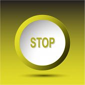 Stop. Plastic button. Raster illustration.