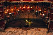 BETHLEHEM - OCTOBER 05: A silver star marks the traditional site of the birth of Jesus in a grotto u