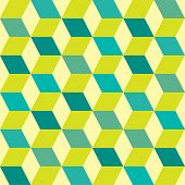 Green retro seventies inspired tile background with box design