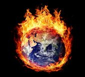 pic of hemisphere  - Burning globe earth  - JPG