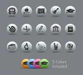 School & Education Icons // Pearly Series -------It includes 5 color versions for each icon in diffe
