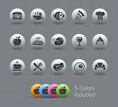 Food Icons - Set 1 of 2 // Pearly Series -------It includes 5 color versions for each icon in differ