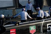 SAN FRANCISCO, CA - OCTOBER 4: Oracle Team USA skippered by Russell Coutts prepares for the America'
