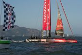 SAN FRANCISCO, CA - OCTOBER 4: Emirates Team New Zealand crosses the finish line in the America's Cu