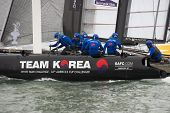 SAN FRANCISCO, CA - OCTOBER 4: The Team Korea sailboat skippered by Peter Burling  competes in the America'?s Cup World Series sailing races in San Francisco, CA on October 4, 2012