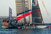SAN FRANCISCO, CA - OCTOBER 4: Ben Ainslie Racing crosses the finish line in the America'??s Cup Wor