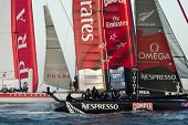 SAN FRANCISCO, CA - OCTOBER 4: Luna Rossa Swordfish and Emirates Team New Zealand compete in the Ame