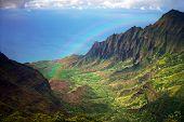 Kauai Coastline Fron An Aerial View With Rainbow
