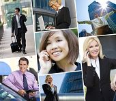 Montage of Interracial business group men & women, businessmen and businesswomen team outdoors using