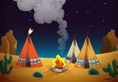 illustration of a tent house and fire in night sky