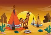 stock photo of movable  - illustration of horse and tent house in a desert - JPG