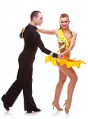 demonstration of dance from a salsa dance couple. on white