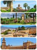 a collage of four pictures of different landmarks in Andalusia, Spain, as Reales Alcazares in Cordoba, the Alhambra of Granada or Plaza de Espana in Seville poster