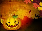 Scary Halloween pumpkin on autumn leafs background. EPS 10.