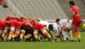 BARCELONA - SEPT 15: USAP Perpignan players scrumming during the French rugby union league match USA