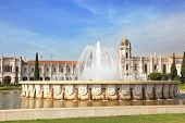 Gorgeous Portugal. Embankment of the River Tagus in Lisbon. A beautiful fountain and a huge monastery of St. Jerome