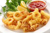 fried calamari, fried squid with marinara sauce