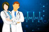 illustration of male and female doctor on medical background