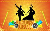 stock photo of navratri  - illustration of people playing garba in dandiya night - JPG