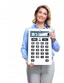 Accountant business woman with a calculator. Isolated on white background.