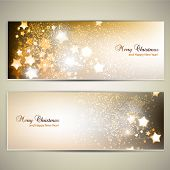stock photo of champagne color  - Set of Elegant Christmas banners with stars - JPG